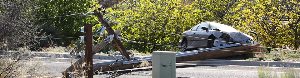Car accident with power pole