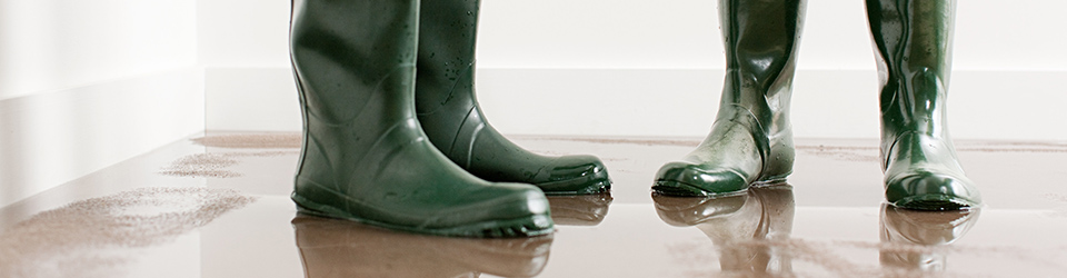 Rubber boots in water