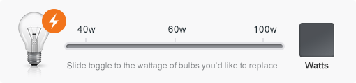 Wattage of bulbs slider